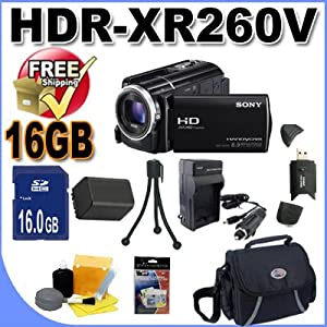 Sony HDRXR260V High-Definition Handycam 8.9 MP Camcorder with 30x Optical Zoom and 160 GB Hard Disk Memory Accessory Saver 16GB FV70 Replacement Battery/Rapid Charger Bundle