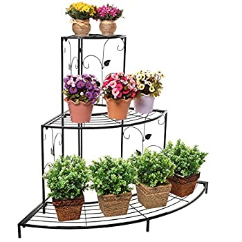 Black Floral Design Metal Step Style 3 Tier Corner Shelf Flower Pots, Planters Display Stand / Shoe Rack