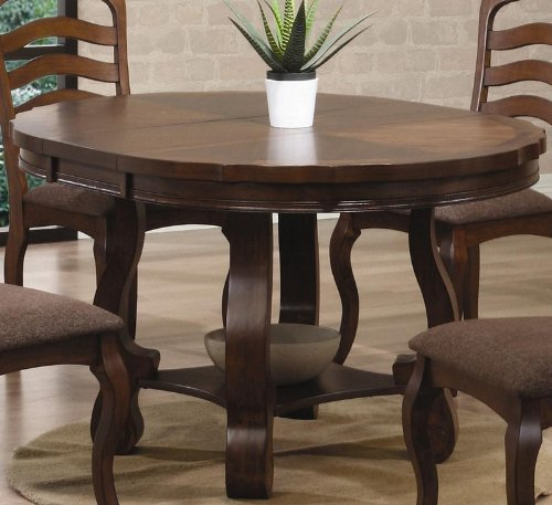 Dining Table with Butterfly Leaf in Medium Brown Oak Finish