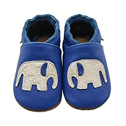Sayoyo Soft Sole Leather Baby Shoes Baby Moccasins Elephant (Blue ,0-6 months)