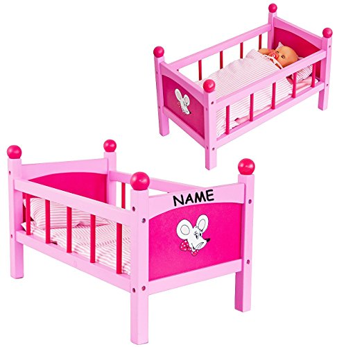 puppenbett aus holz incl name 50 cm lang incl bettzeug und kissen puppe. Black Bedroom Furniture Sets. Home Design Ideas