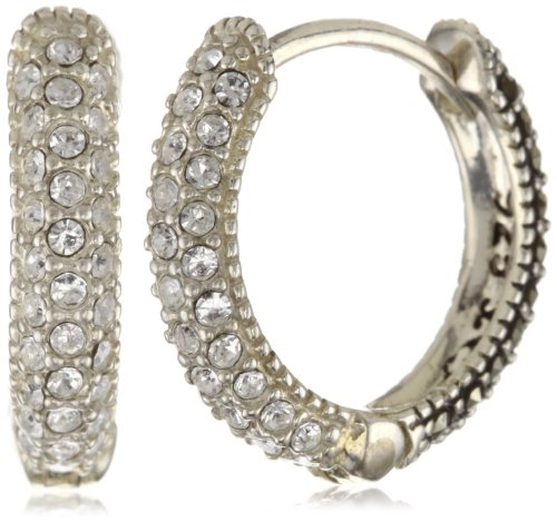 Judith Jack Sterling Silver Marcasite and Crystal Pave Hoop Earrings