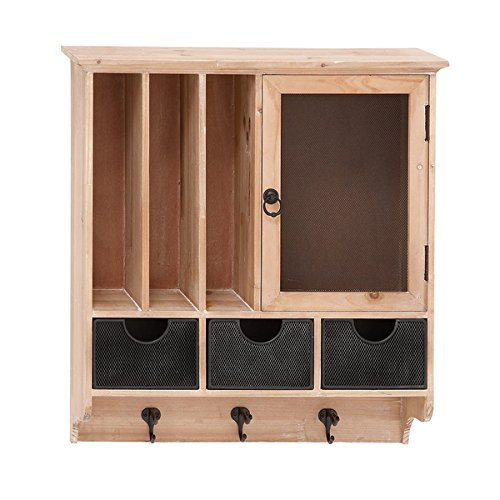 Wood and Metal Entryway Wall Cabinet, Measures 23 inches high x 19 inches wide x 6.5 inches deep 0