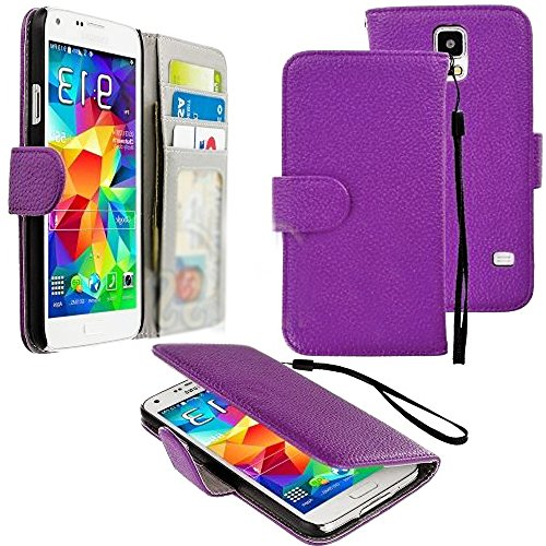 Mylife (Tm) Alexandrite Purple - Classic Design - Koskin Faux Leather (Card, Cash And Id Holder + Magnetic Detachable Closing + Hand Strap) Slim Wallet For New Galaxy S5 (5G) Smartphone By Samsung (External Rugged Synthetic Leather With Magnetic Clip + In