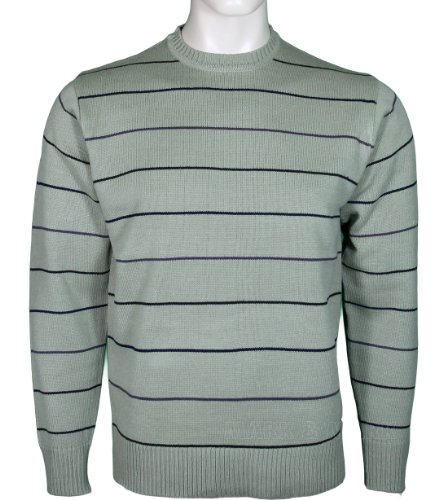 Mens Crew Neck Jumper Striped Design (Large, Beige)