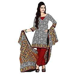 M Fab Printed Black Cotton Un Stitched Dress Material