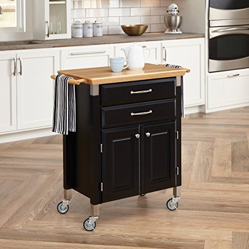 Traditional Dolly Madison Prep & Serve Kitchen Cart - Black (Oceanstar Design Kitchen Cart compare prices)