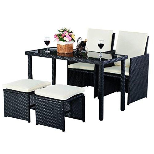 5tlg-Gartenmbel-Polyrattan-Lounge-Set-Esstisch-Set-Rattanmbel-Gartensitzgruppe-Essgruppe-Gartengarnitur-Gartenset-Tisch-Sthlen-Hocker-Garnitur-inkl-Kissen