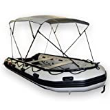 "Seamax Portable 4 Bow Bimini Top Fit 12 to 16ft Inflatable Boat, 600 Dtx Polyester Fabric Gray Canopy, Size D Dimension W70"" H55"" L86"""