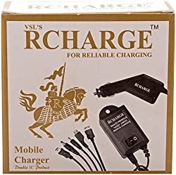 VSL'S RCHARGE 5-in-1 Car Charger Car Mobile Charger (Black)