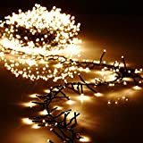 Christmas Cluster Lights 44 Foot Garland with 1300 Warm White Lights on Green Wire with Remote Control - Raz Exclusive Twinkle Function (Color: green)