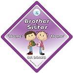 Autoschild Aufschrift Brother And Sis...