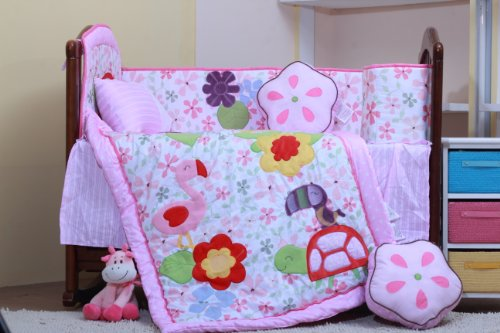 Nice Flamingo Baby Crib Bedding Set Pieces Purple Pink