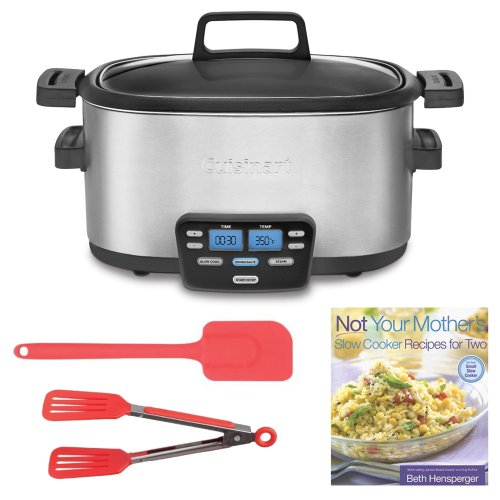 Cuisinart Msc-400 4 Qt.Cook Central Multicooker + Slow Cooker Recipes For Two + 10.5In Silicone Spatula Cherry + 8-Inch Nylon Flipper Tongs
