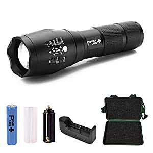 PeakPlus XML T6 5 Modes Zoomable Adjustable Focus Ultra Bright LED Tactical Flashlight Bundle with Battery Holder Battery Charger and Accessories (7 Items)