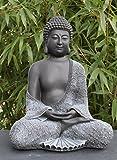 Steinfigur Buddha sitzend Steinguss Schwarz