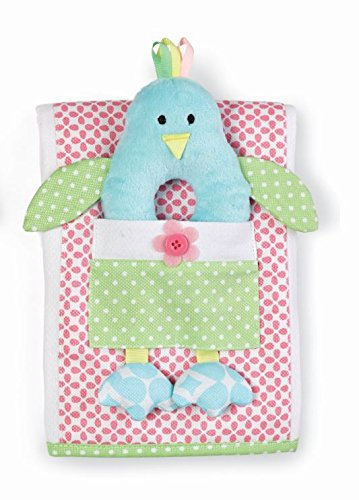 Mud Pie Little Chick Burp Cloth and Rattle Set, Pink