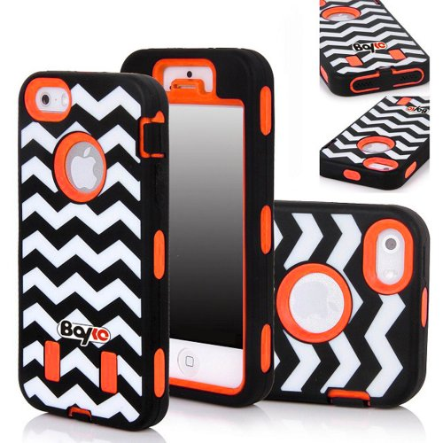 Bayke Brand Premium Armorbox Armor Defender Case for Apple Iphone 5 5S (5C Not Fit) Fashion Ziggy Zag Navy Chevron Design High Impact Dual Layer Hybrid Full-body Protective Case (Orange / Screen Protector not Include) at Amazon.com