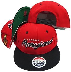 Buy Maryland Terrapins Script Red Black Two Tone Plastic Snapback Adjustable Plastic Snap Back Hat Cap by Zephyr