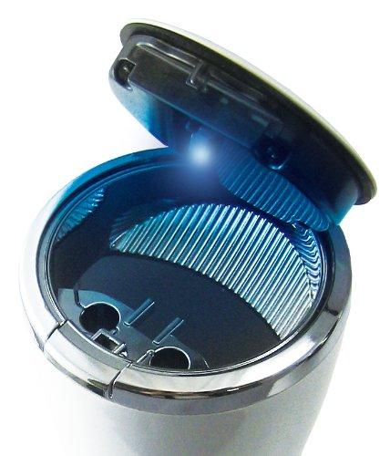 ヤック 車用 灰皿 ユースフルアッシュ ドリンクホルダー型 ホワイト/クロームメッキ LED付き PZ-483