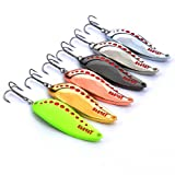 Hisea Long Casting Metal Spoons Spinnerbaits Bleeding Shad Nice Action Hard Spinner Fishing Lures for Bass & Walleye, 60mm 15g (approx. 2.35inches 0.53oz)