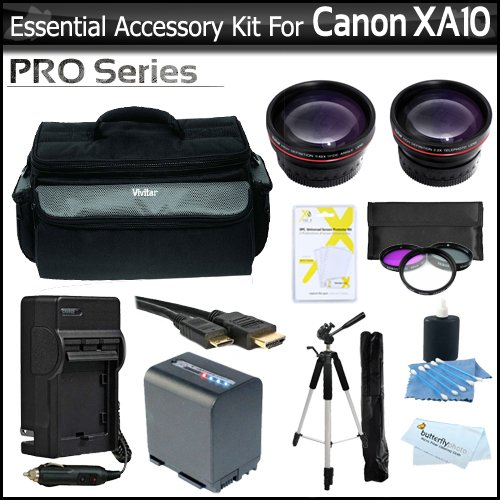 Essential Accessory Kit For Canon XA10 Professional Camcorder Includes Extended (2100Mah) Replacement BP-819 Battery + AC/DC Travel Charger + Deluxe Case + 72 Pro Tripod + HD .43x Wide Angle Lens + HD 2.2x Telephoto Lens + 3pc Filter Kit + Much More