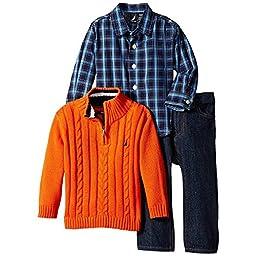 Nautica Baby Boys\' 3 Piece Set Woven Sweater Denim, Orange, 12 Months
