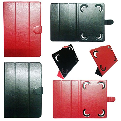 "IndiSmack Reversible Flip Folio Case Cover Cum Stand for 7"" 7 inch Tablets (Black+Red)"