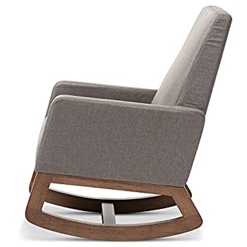 Baxton Studio Yashiya Mid Century Retro Modern Fabric Upholstered Rocking Chair, Grey