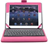 Ruban iPad Air Keyboard Case, Removable Wireless Bluetooth Keyboard Case Cover with Auto Wake Sleep, Tablet Stand for iPad Air 1,2- Hot Pink