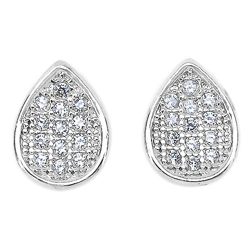 1.10 Grams Micro Pave Setting American Diamond Gold Plated Copper Earrings