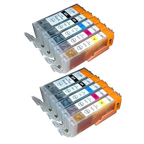 10 PGI550 CLI551 Druckerpatronen Kompatible für Canon Pixma IP 7250 MG 5450 MG 5550 MG 6350 MG 6450 MG 7150 MX 725 MX 925 Tintenpatronen mit Chip (2 PGI550BK, 2 CLI551BK, 2 CLI551C, 2 CLI551M, 2 CLI 551Y)