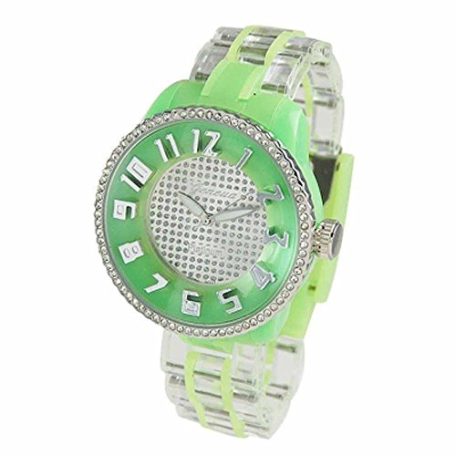 Geneva Womens Jumbo Plastic Clear/Lime Green Watch With Stone Band