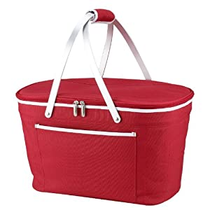 Picnic at Ascot Collapsible Basket Cooler, Red