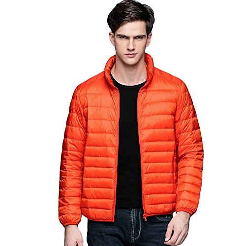 Years Calm Mens Packable Lightweight Down Coat Jacket Warm Stand Collar Puffer Coat (Large, Orange)