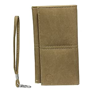 Jo Jo A5 Nilofer Leather Wallet Universal Pouch Cover Case For Lenovo A7000 Plus Beige