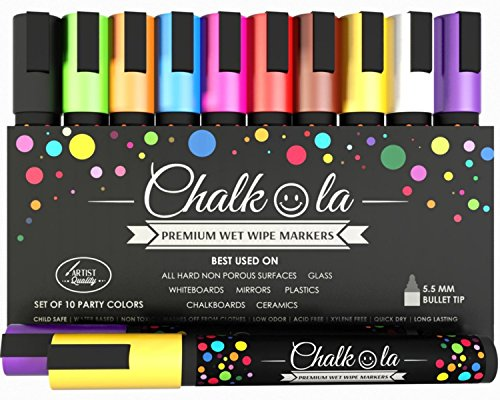 INSANE SALE - Premium Chalk Pens - Pack of 10 neon colour markers. Used on Chalkboards, Windows, Labels, Bistros, Glass, Whiteboards. Water based wet wipe erasable pen - 6 mm Bullet Tip