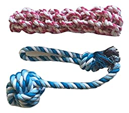 Brogan\'s Heroes Red and Blue Cotton Braided Rope Dog Toy 2-Pack Set with Monkey Fist Ball - FETCH TOSS ENTERTAIN!!!