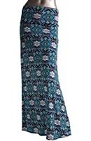Azules Women's Poly Span Multiple Selection Print Maxi Skirt
