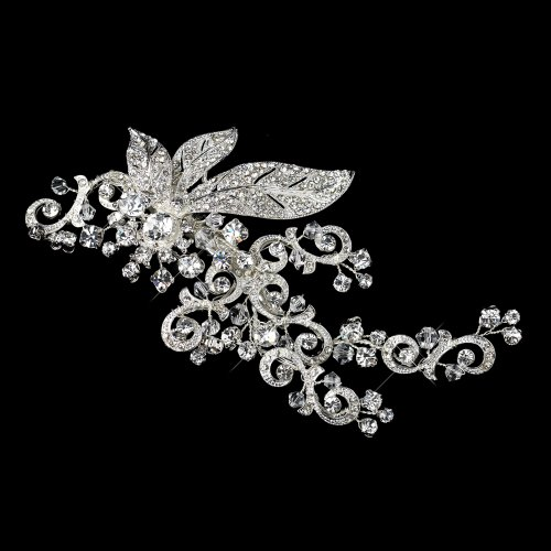 RaeBella Weddings Sparkling Rhinestone Covered Leaf Swirl Bridal Hair Clip Antique Silver Headpiece