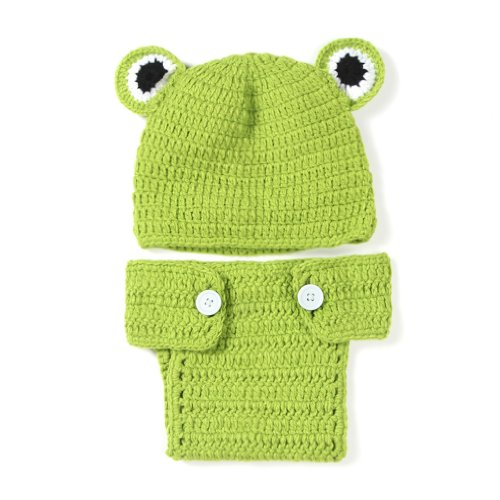 YueLian Baby Girls Boys Beanie Frog Photography Prop Costume Hat Caps Pants Set