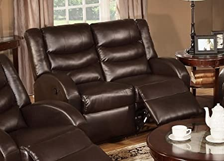 Bobkona Motion Loveseat in Espresso Bonded Leather by Poundex