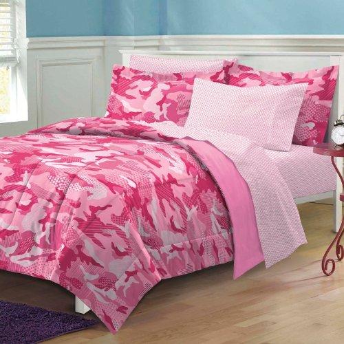 Dream Factory Geo Camo Camouflage Comforter Set, Twin, Pink