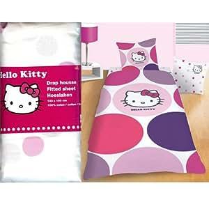 Hello kitty 39329 prune drap housse 140 x 190 - Drap housse 70x140 hello kitty ...