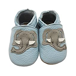 Sayoyo Soft Sole Leather Baby Shoes Baby Moccasins Cute Elephant(12-18 months,Blue)
