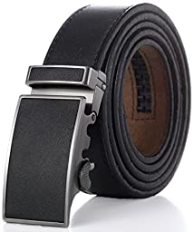 Marino Men\'s One Piece Leather Ratchet Dress Belt with Automatic Leather Fashion Buckle - Black Matte Leather Buckle with Black Leather - Custom: Up to 44\