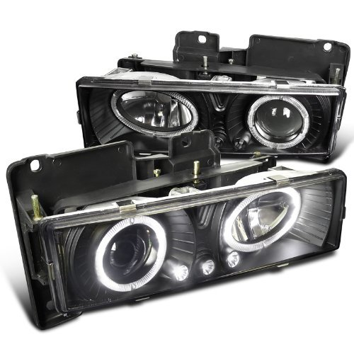 Spec-D Tuning LHP-C1088JM-RS Chevy GMC C10 Pickup Silverado Suburban Black Halo Led Projector Headlights (Chevy Silverado Headlights Halo compare prices)