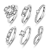 SunIfSnow Women One of Love Shape 6 piece/set Crystal Rings Silver