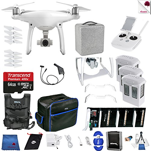 DJI Phantom 4 Ready For Takeoff Bundle Includes: DJI Phantom 4 Drone + 3 Batteries (total) + Carry Vest + 64 GB Memory Card + Controller + Foam Case + More