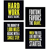 PPD 4 PIECE SET OF FRAMED WALL HANGING MOTIVATIONAL OFFICE DECOR ART PRINTS 10 INCH X 10 INCH WITHOUT GLASS
